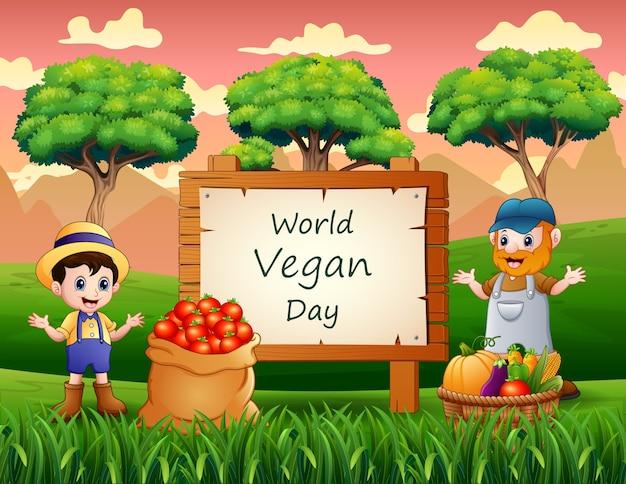 Journée mondiale du végétalien sur signe avec des légumes et des agriculteurs
