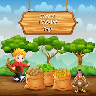 Journée mondiale du végétalien sur signe avec des légumes en sac