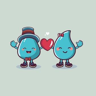 Journée mondiale de l'eau couple de mascotte de dessin animé de belle goutte avec le concept de la saint-valentin