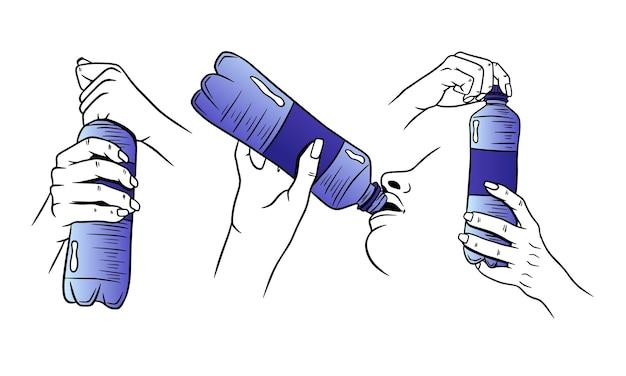 Journée mondiale de l'eau. l'eau dans une bouteille en plastique. bouteille d'eau à la main.