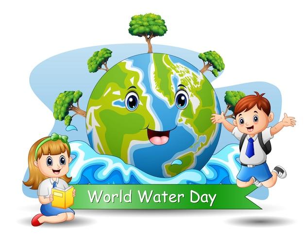 Journée mondiale de l'eau avec des étudiants heureux