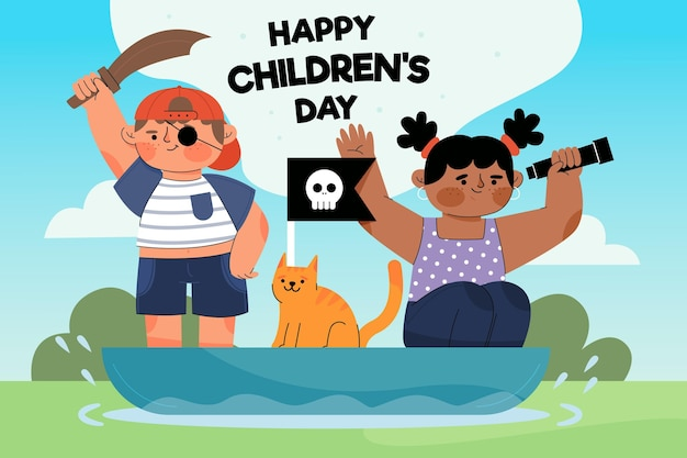 Journée mondiale des enfants design plat