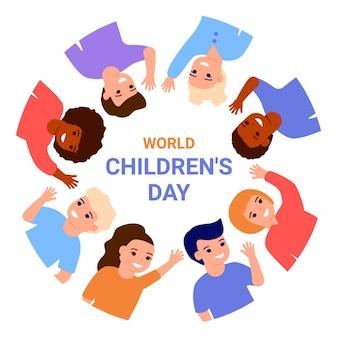 Journée mondiale des enfants. enfants multinationaux heureux agitant les mains, se tiennent dans le cercle de la frontière.