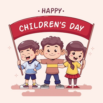 Journée mondiale des enfants heureux dessinés à la main