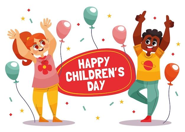 Journée mondiale des enfants de style dessiné à la main