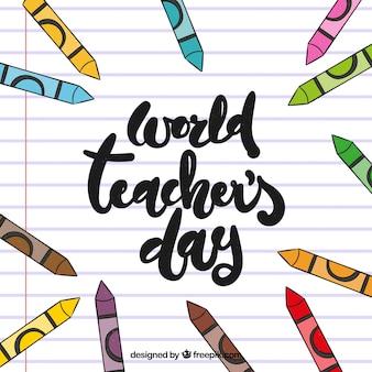 Journée mondiale de l'enseignant sur un papier doublé en lettrage à la main