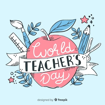 Journée mondiale des enseignants dessinés à la main sur pomme rouge