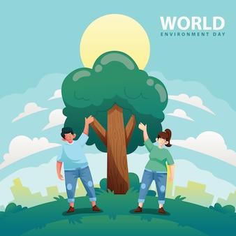 Journée mondiale de l'environnement arbre en croissance