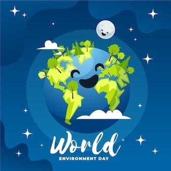 Journée mondiale de l'environnement au design plat