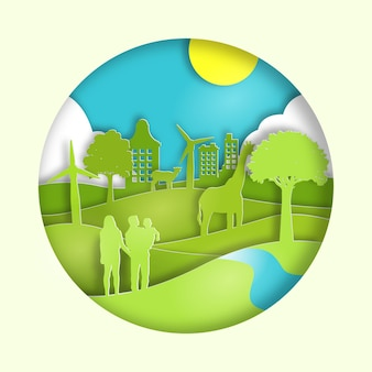 Journée mondiale de l'environnement dans un style papier avec la nature