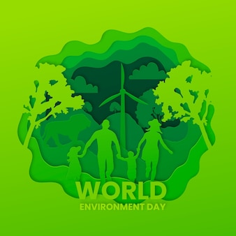 Journée mondiale de l'environnement dans un style papier