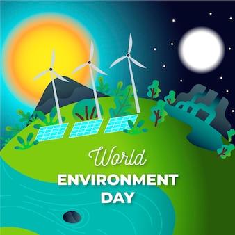 Journée mondiale de l'environnement design plat illustrée
