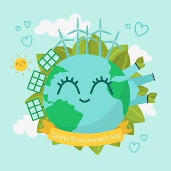 Journée mondiale de l'environnement design plat