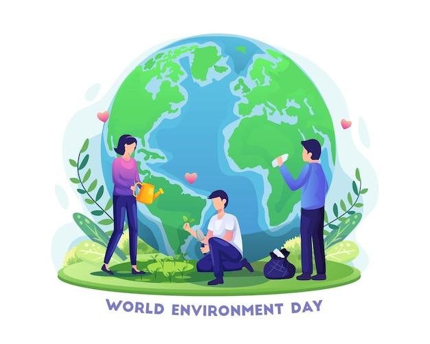 Journée mondiale de l'environnement dessinée à la main avec des gens jardinant et nettoyant l'illustration de la terre