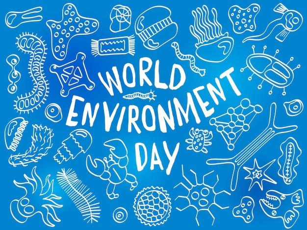 Journée mondiale de l'environnement doodle toile de fond de divers micro-organismes avec infectieux