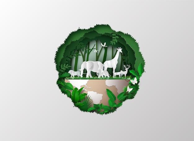 Journée mondiale de la faune avec les animaux en forêt, art découpé en papier et style artisanal numérique.