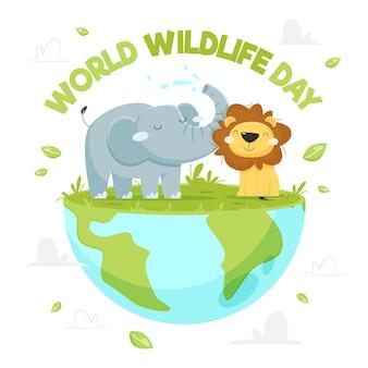 Journée mondiale de la faune dessinée à la main