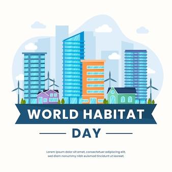 Journée mondiale de l'habitat au design plat