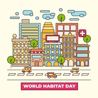 Journée mondiale de l'habitat design plat