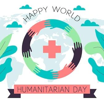 Journée mondiale humanitaire illustrée à plat