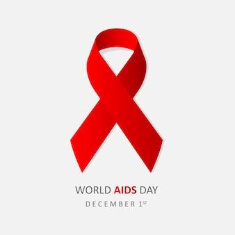 Journée mondiale de lutte contre le sida le 1er décembre. bannière avec ruban rouge et texte journée mondiale du sida sur fond gris. illustration vectorielle eps 10