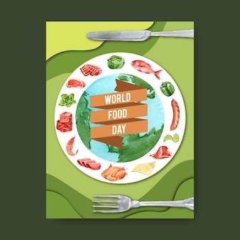 Journée mondiale de la nourriture affiche globe, côtes, poulet, illustration aquarelle saucisse.