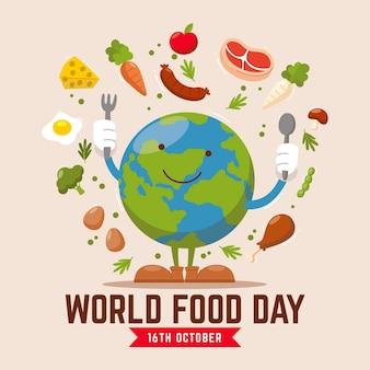 Journée mondiale de la nourriture dessinée à la main