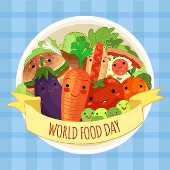 Journée mondiale de la nourriture de style dessiné à la main