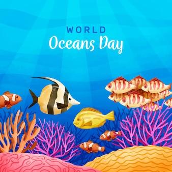 Journée mondiale des océans aquarelle