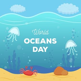 Journée mondiale des océans au design plat
