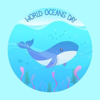 Journée mondiale des océans design plat