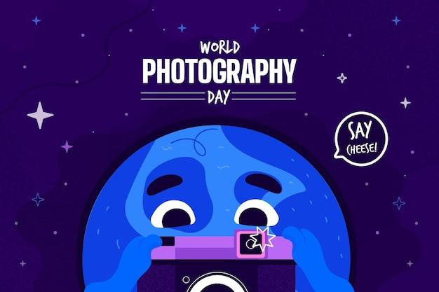 Journée mondiale de la photographie au design plat