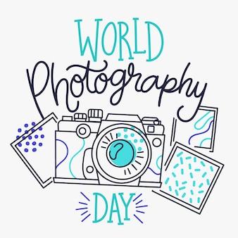 Journée mondiale de la photographie design dessiné à la main