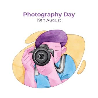 Journée mondiale de la photographie dessinée à la main