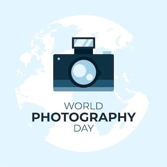 Journée mondiale de la photographie de fond dessiné à la main