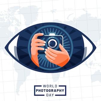 Journée mondiale de la photographie avec les mains et l'appareil photo