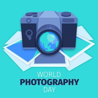 Journée mondiale de la photographie à plat avec appareil photo