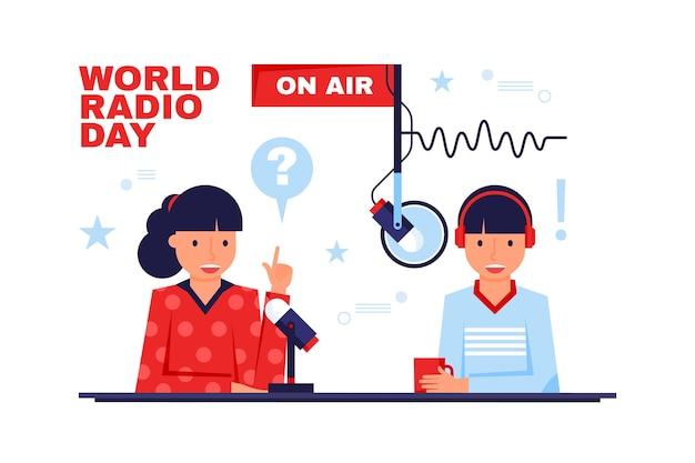 Journée mondiale de la radio design plat sur le concept de l'air