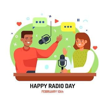 Journée mondiale de la radio design plat