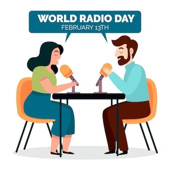 Journée mondiale de la radio dessinée à la main design plat