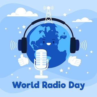 Journée mondiale de la radio fond dessiné à la main avec la terre