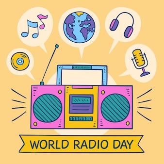 Journée mondiale de la radio fond dessiné à la main