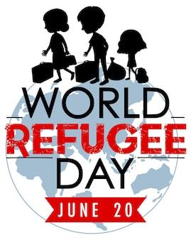Journée mondiale des réfugiés le 20 juin bannière avec silhouette de personnes