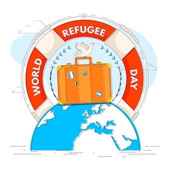Journée mondiale des réfugiés au design plat