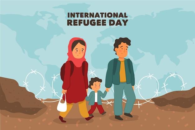 Journée mondiale des réfugiés design dessiné à la main
