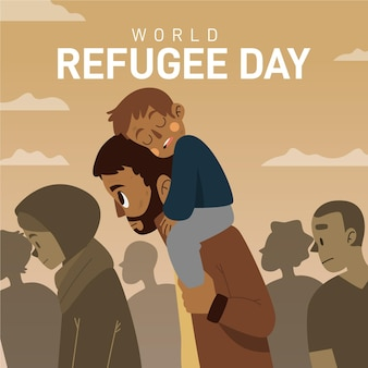 Journée mondiale des réfugiés dessinée à la main avec père et fils
