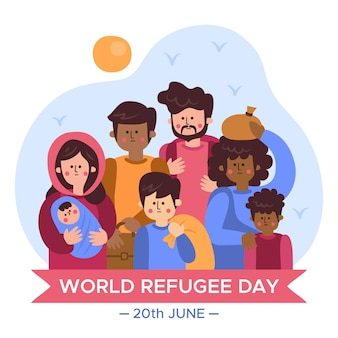 Journée mondiale des réfugiés dessinée à la main