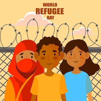 Journée mondiale des réfugiés avec des gens