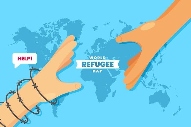 Journée mondiale des réfugiés avec les mains sur la carte du monde