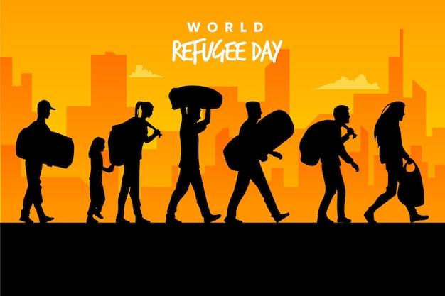 Journée mondiale des réfugiés de silhouettes